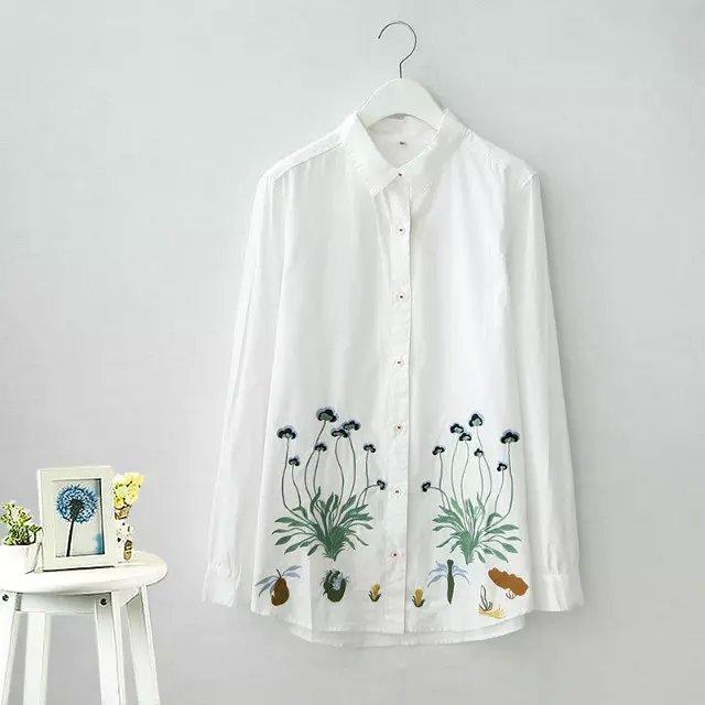 European Fashion women Floral Embroidered white Turn-...