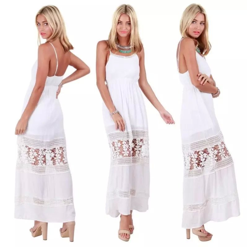 European Style Fashion Women white Lace spliced maxi long Dress Beach Wear sexy backless vintage Spaghetti Strap dress