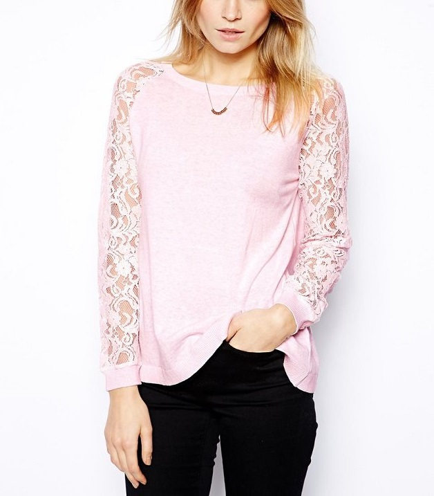 Fashion Autumn women Elegant Lace Long Sleeve Pink T-...
