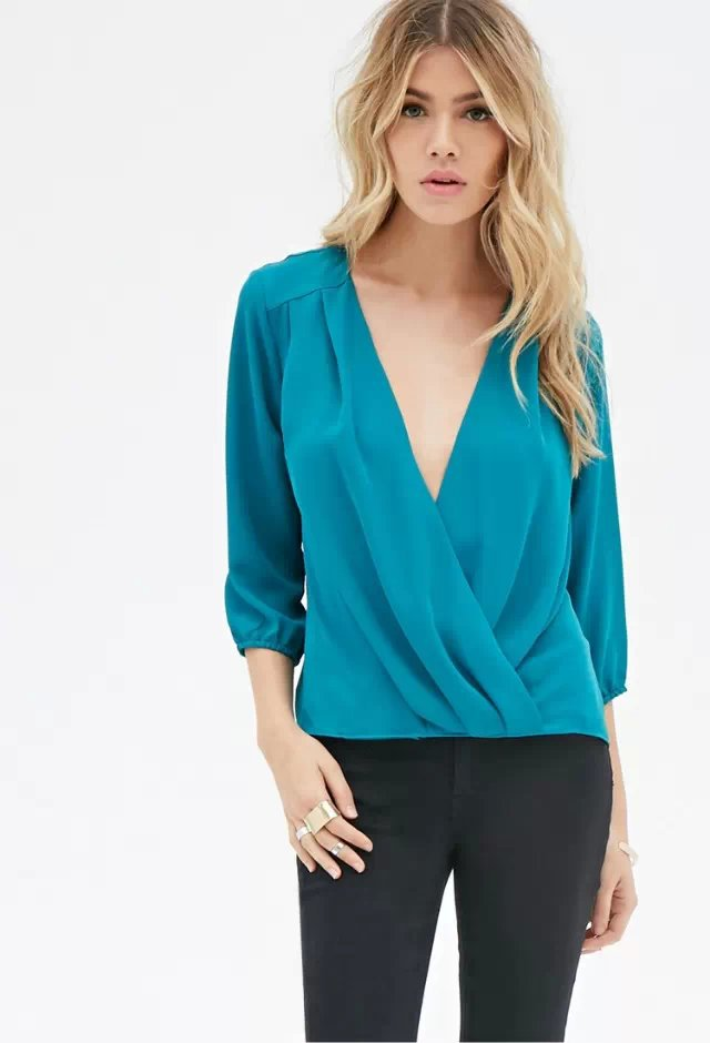 Fashion brand women elegant sexy cross V neck blouses ...