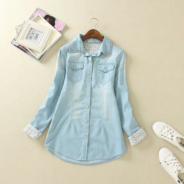Fashion elegant floral blue Denim shirts blouses For ...