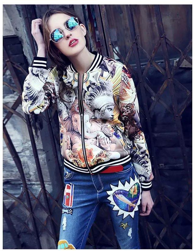 Fashion European Autumn Floral print coat outwear zipper ...