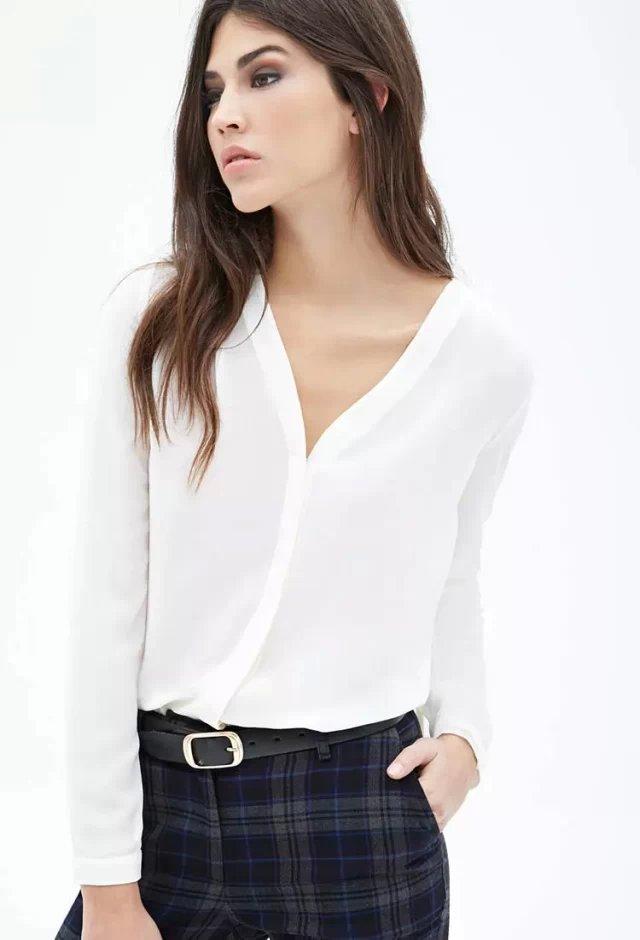 Fashion female elegant sexy Brief shoulder pleated blouse ...