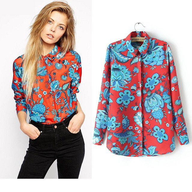 Fashion female work wear vintage floral print blouse ...