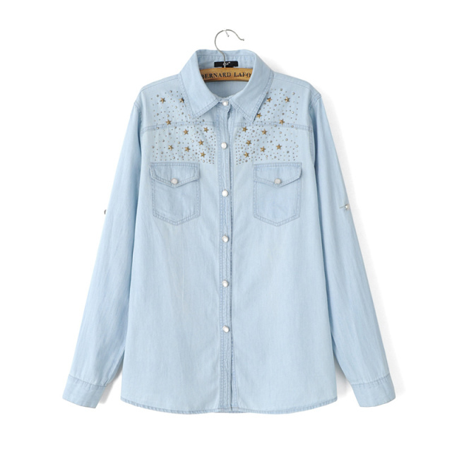 Fashion Five-pointed star rivet blue Denim shirts blouses ...