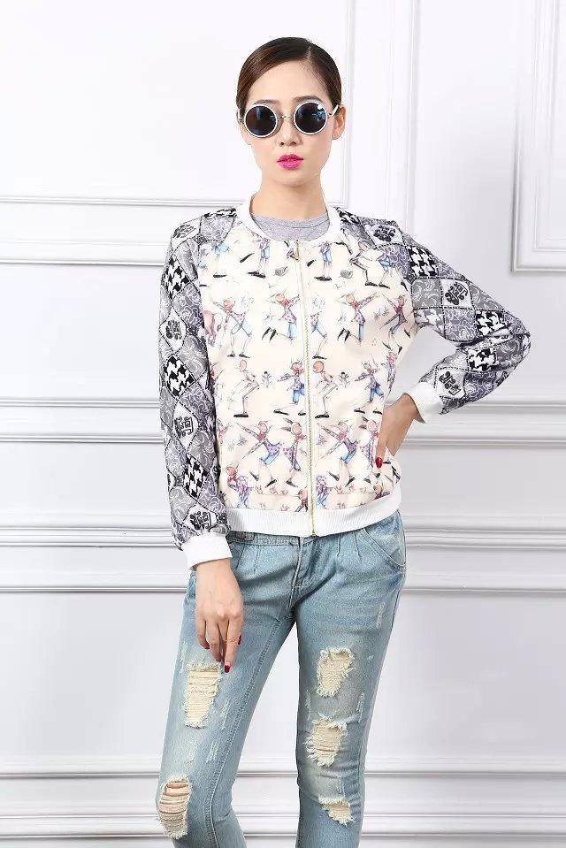 Fashion Korean Autumn Character print coat outwear zipper ...