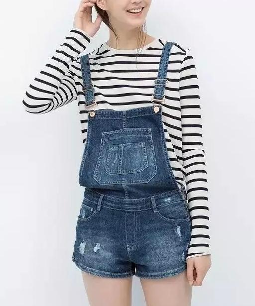 Fashion Ladies Denim blue School style button pockets ...
