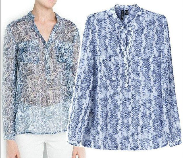 Fashion Ladies' elegant blue porcelain print blouses ...