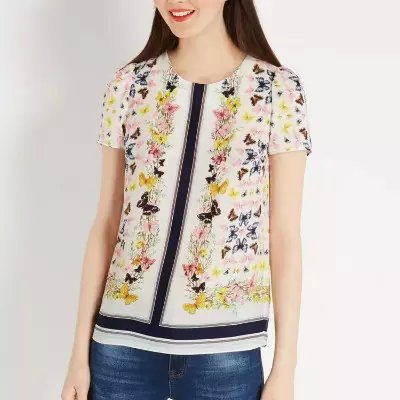 Fashion Ladies' Elegant butterfly floral print blouses ...