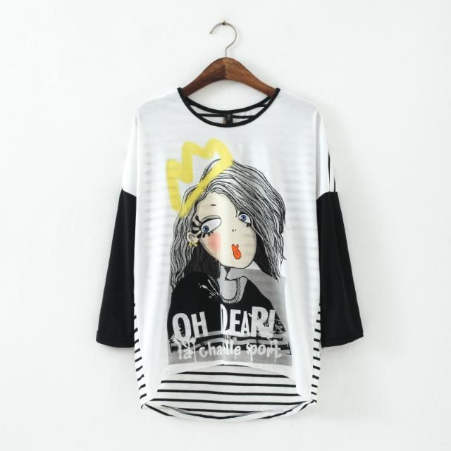 Fashion Ladies' Elegant cartoon girl print back stripe ...