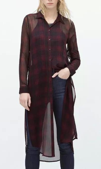 Fashion Ladies' Elegant chiffon Plaid Long Blouses Turn-...