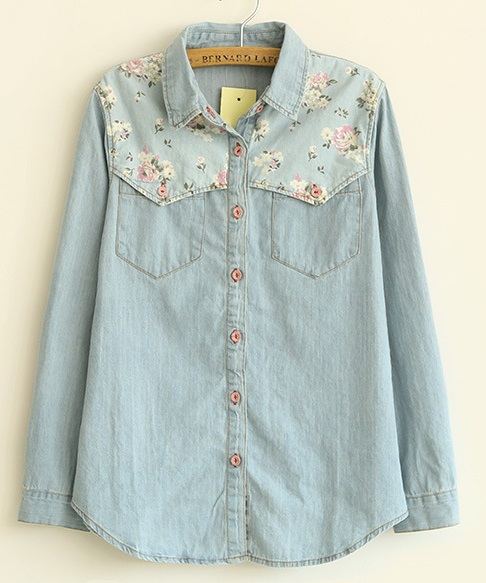 Fashion Ladies elegant floral blue Denim shirts blouses ...
