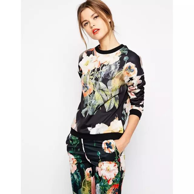 Fashion Ladies' elegant floral pattern sports pullover ...