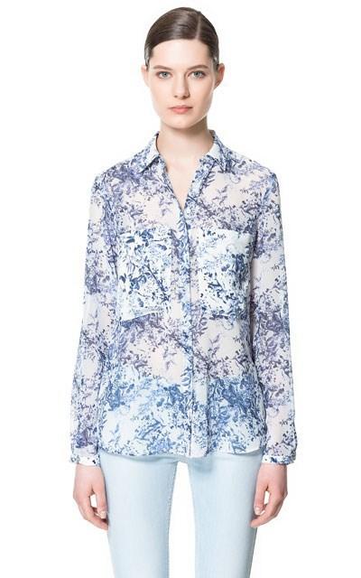 Fashion Ladies' elegant floral print chiffion blouse ...
