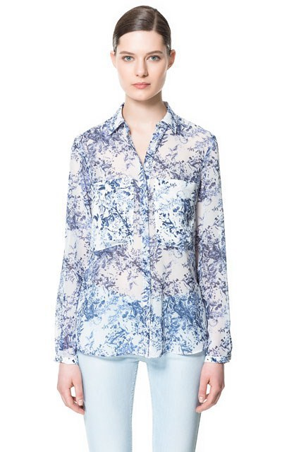 Fashion Ladies' elegant floral print chiffion blouse ...