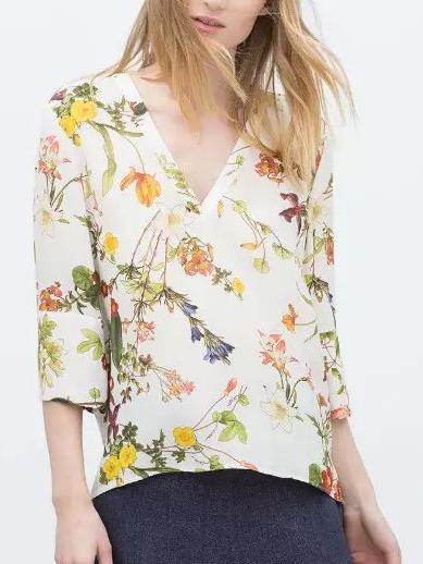 Fashion Ladies elegant Floral print Chiffon blouses ...