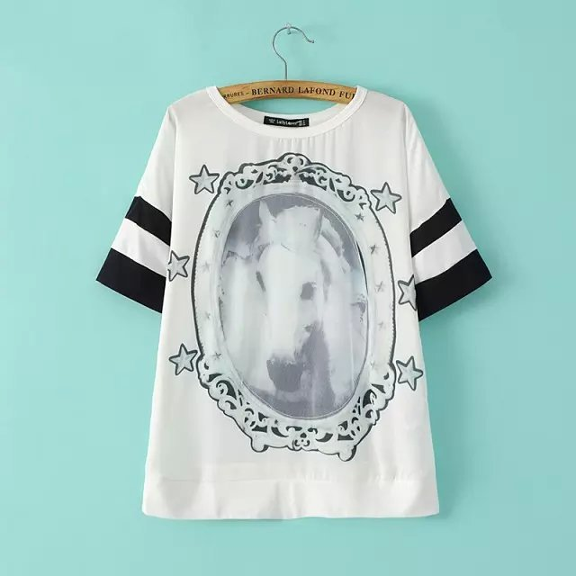 Fashion Ladies Elegant Horse printed T shirt O-Neck ...