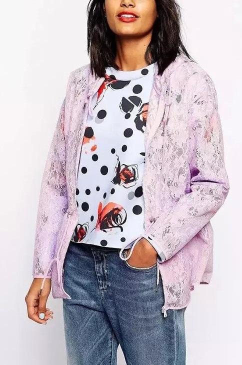 Fashion Ladies' elegant Lace Purple zipper hooded Jacket ...