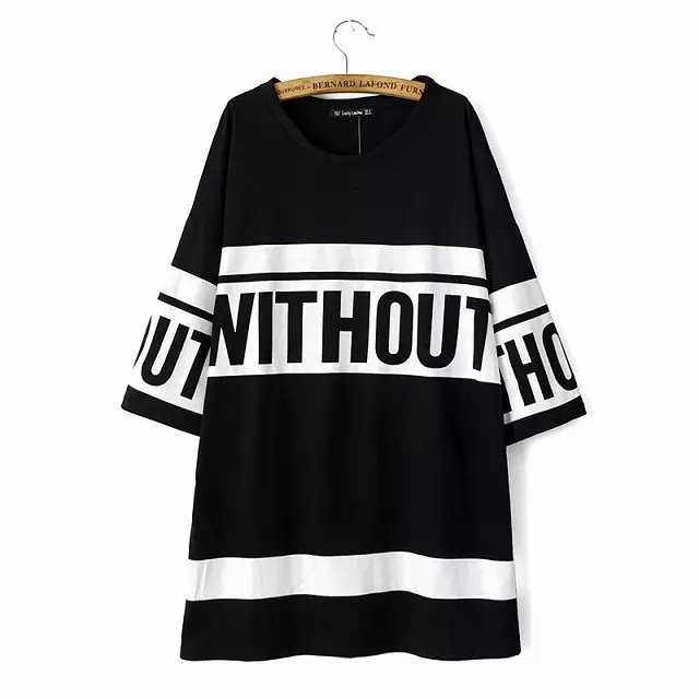 Fashion Ladies Elegant Letter printed long T shirt O ...