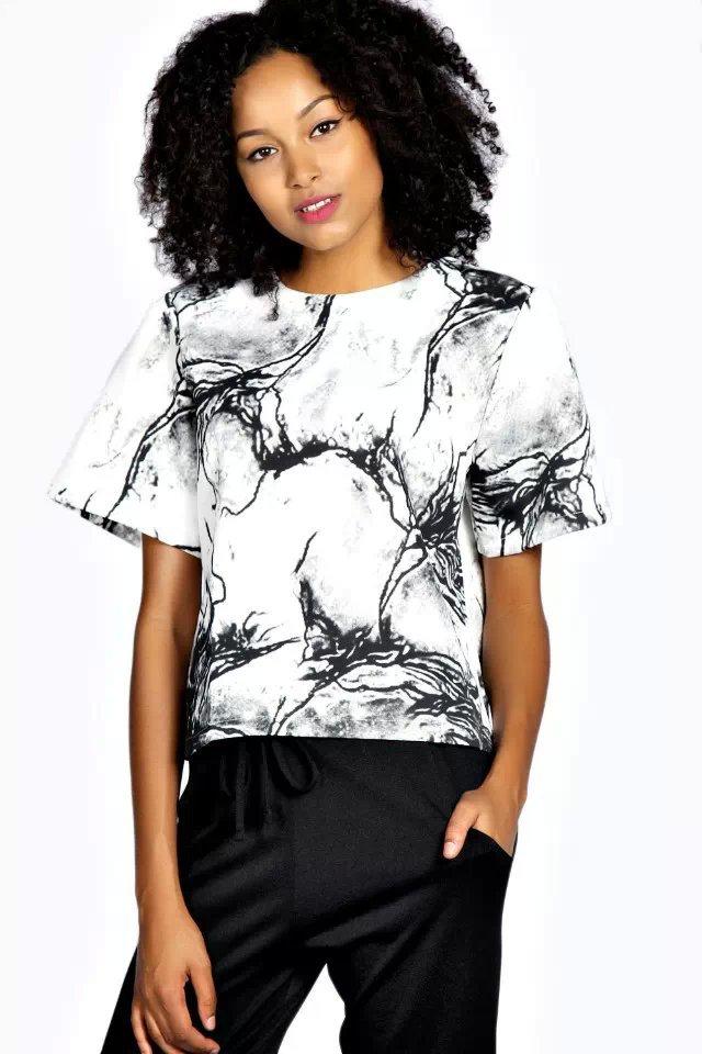 Fashion Ladies' Elegant Marbling print blouses vintage ...