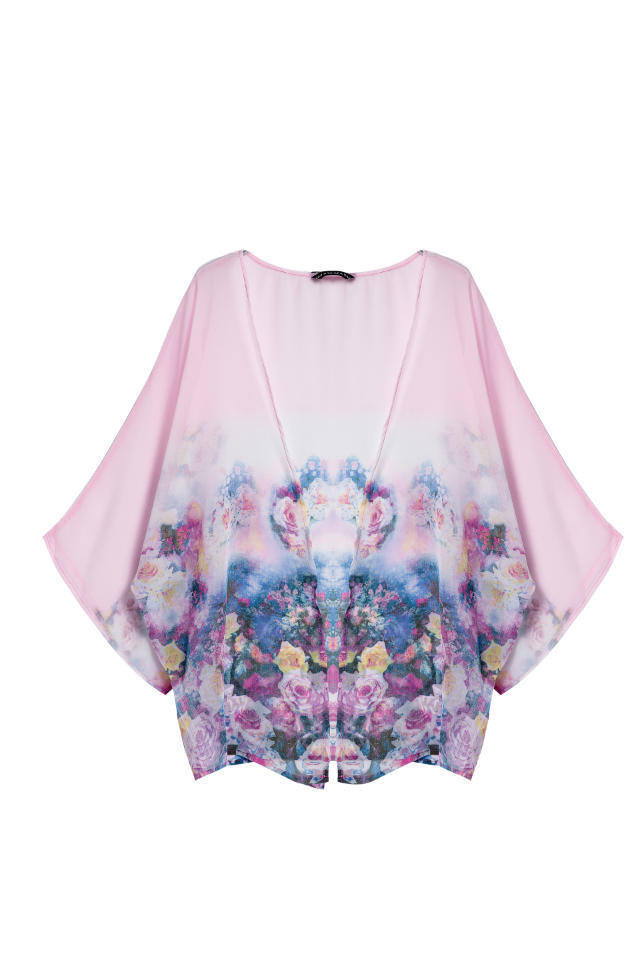 Fashion Ladies' elegant pink floral print Kimono outwear ...