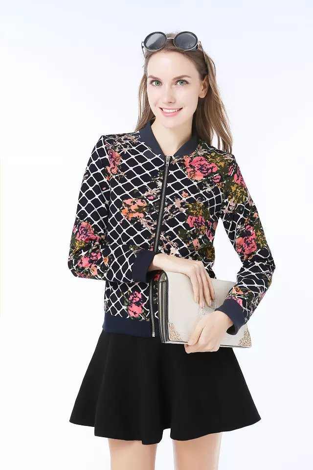 Fashion Ladies' elegant plaid floral print short coat ...
