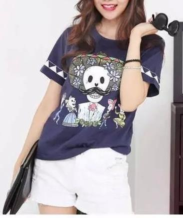 Fashion Ladies Elegant Skull printed T shirt O Neck ...
