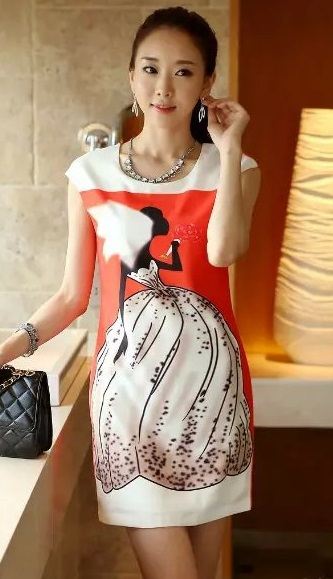 Fashion Ladies' Elegant sweet Beauty Girl Print Sexy ...