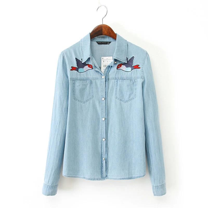 Fashion Ladies' elegant sweet bird print blue Denim ...