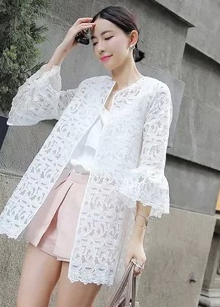 Fashion Ladies Elegant sweet floral Lace See Through ...