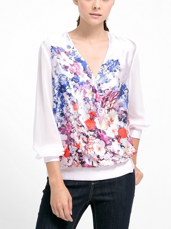 Fashion Ladies' elegant Sweet floral print front cross ...