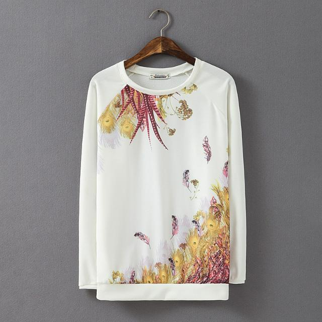 Fashion Ladies' feather Pattern white sports pullover ...