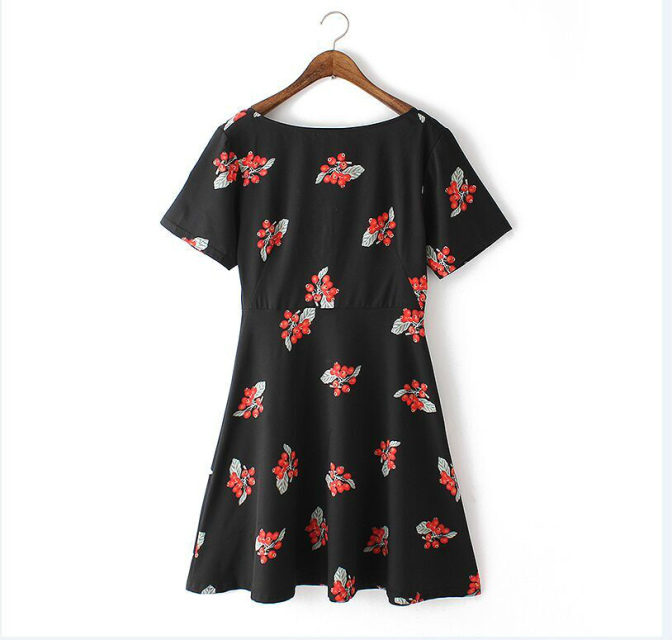 Fashion Ladies Pleated Fruits printed Dresses vintage O-Neck short sleeves Backless zipper casual Plus Size brand dress