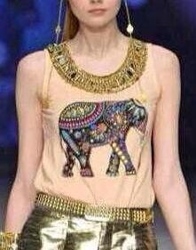Fashion Ladies summer Elephant Print T shirt O-neck ...