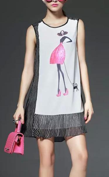 Fashion Ladies Summer Stripe Beauty Girl printed dresses ...