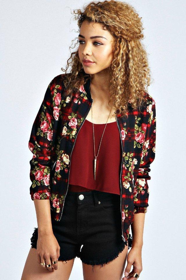 Fashion Ladies' Vintage red Floral print plaid Jacket ...