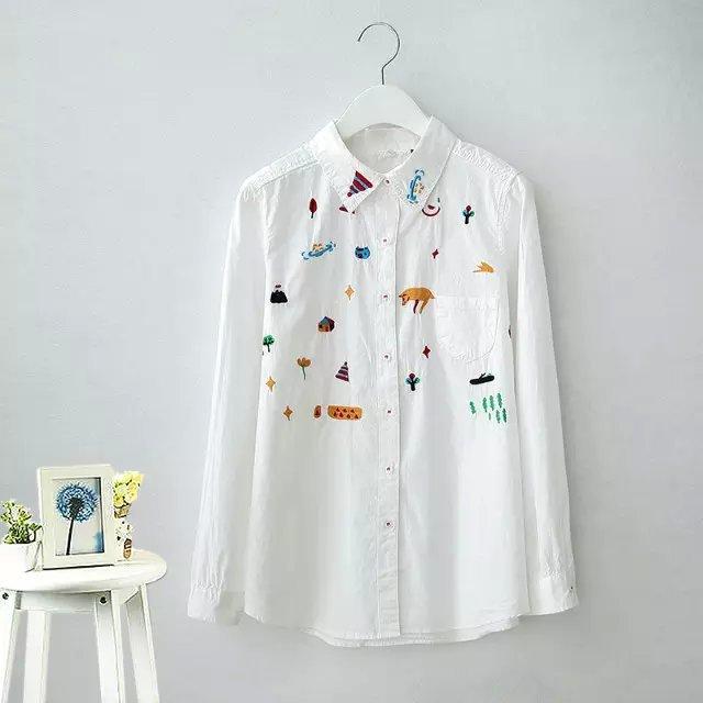 Fashion Lady cartoon animal tree embroidery White cotton ...