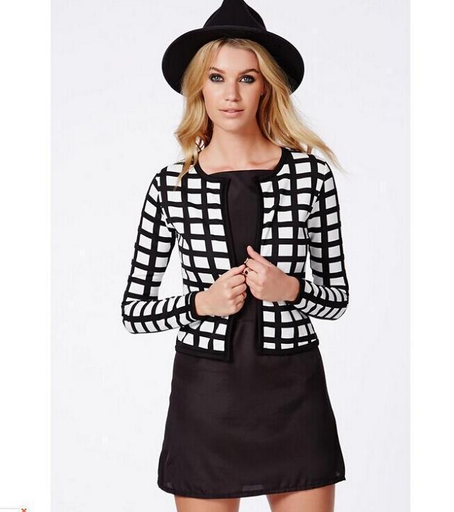 Fashion Lady classic plaid print short jacket coat long ...