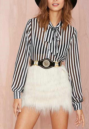 Fashion lady elegant classic striped print blouses sweet ...