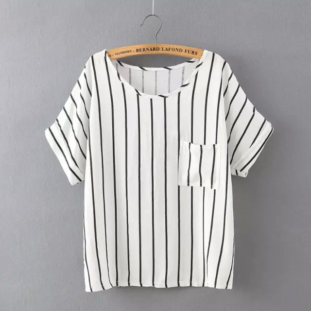 Fashion New Women Elegant Stripe T shirt O Neck Batwing ...