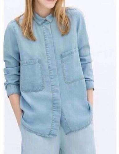 Fashion Office Lady blue Denim shirts blouses For Women ...