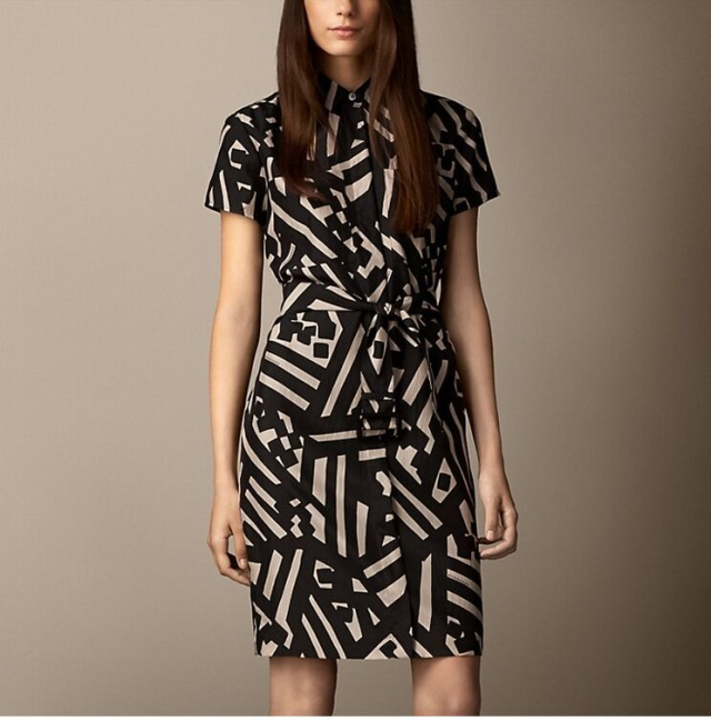 Fashion Office Lady Geometric work Dresses vintage Turn-...