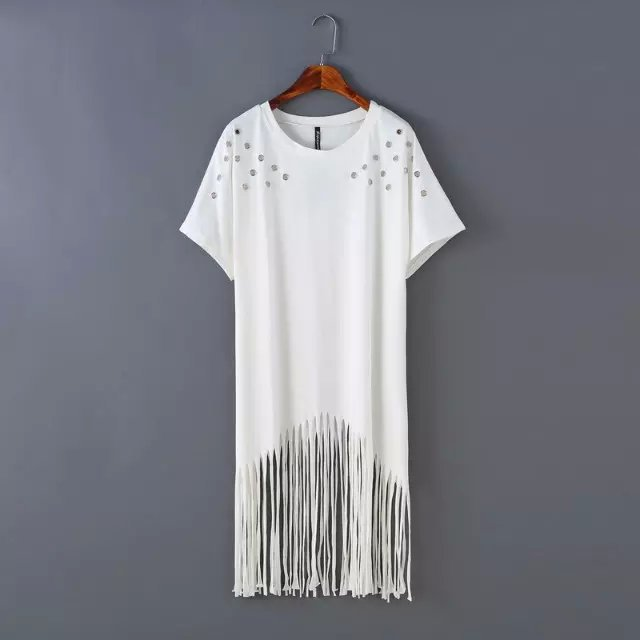 Fashion Punk rock style Summer Women tassel long T Shirt ...