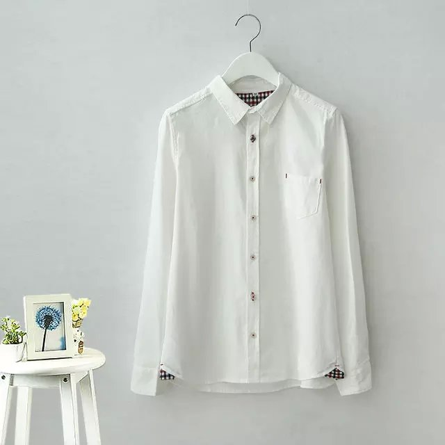 Fashion School style White pocket cotton blouses for ...