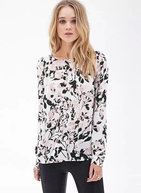 Fashion spring women cartoon floral print chiffon blouse ...