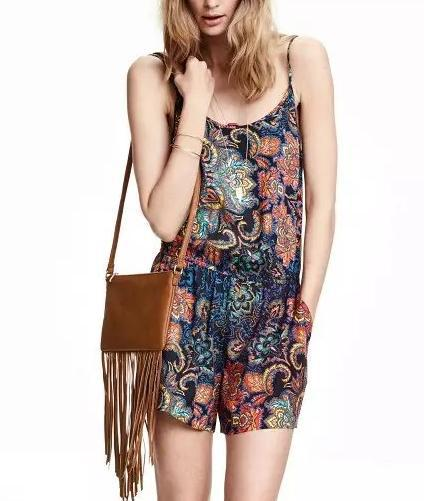 Fashion Summer floral print Elastic Waist Spaghetti ...