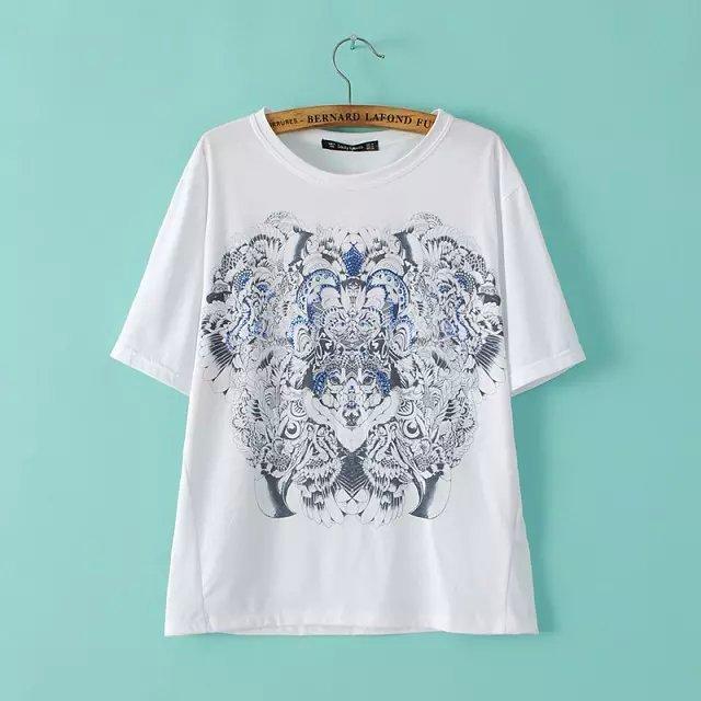 Fashion summer Ladies beading printed T-shirt Casual ...