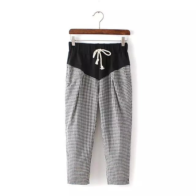 Fashion Summer Ladies' elegant Plaid print Harem pants ...