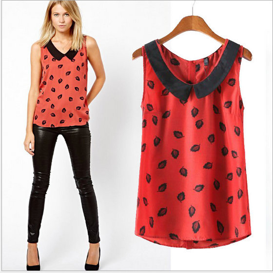 Fashion summer Ladies' elegant print blouse turn-down ...