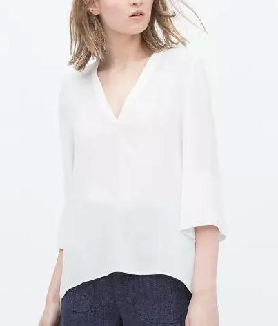 Fashion Summer Office Lady Chiffon Blouse V-neck Three ...